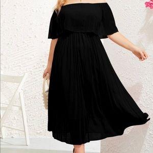 Plus Size Ruffle Trim Pleated Bardot Dress
